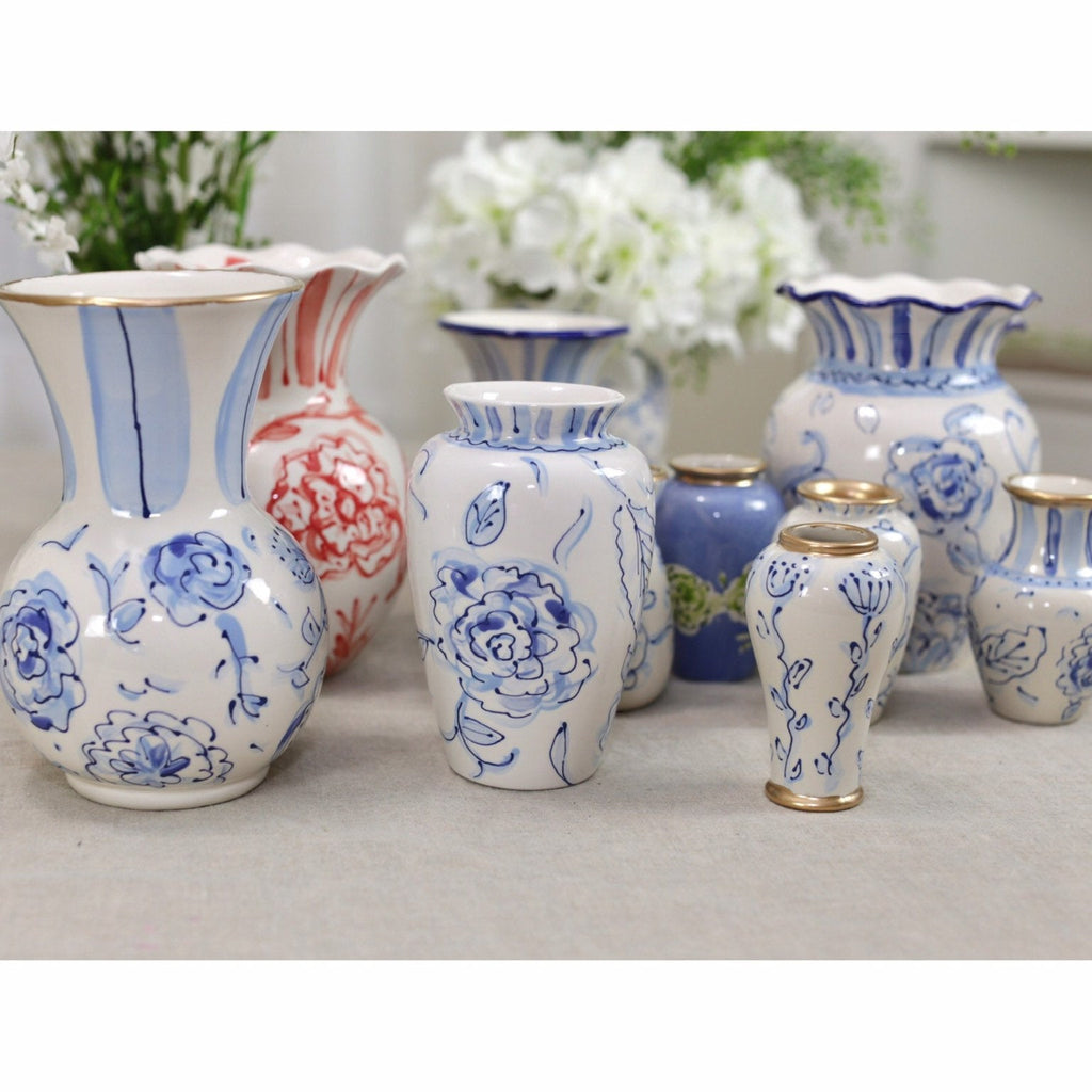 Blue and White Chinoiserie Ceramic Flower Vase