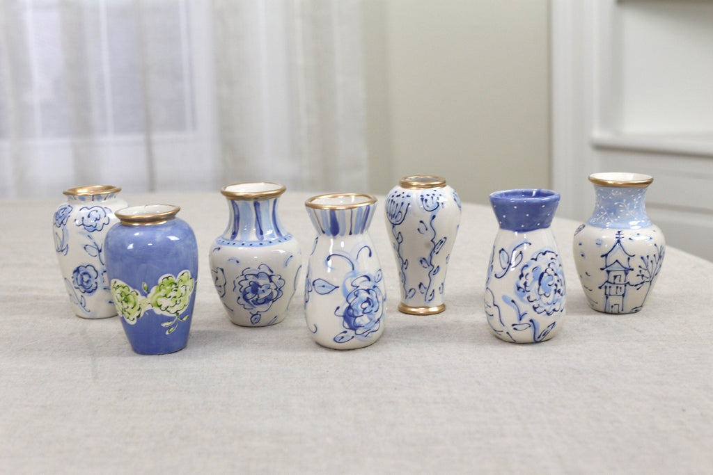 Blue and White Chinoiserie Small Ceramic Flower Vase