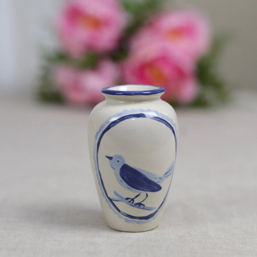 Blue Bird Ceramic Vase