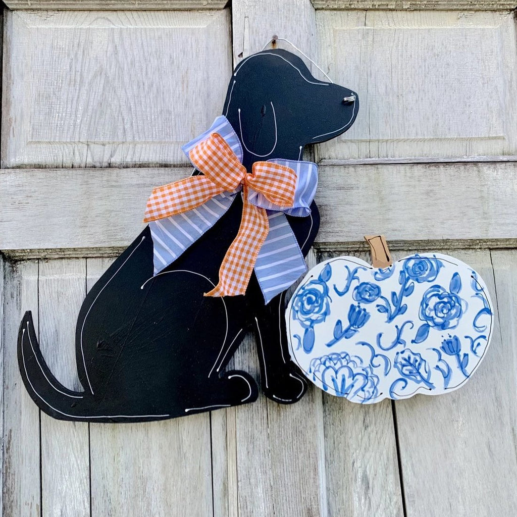 Labrador Chinoiserie Fall Pumpkin Door Hanger