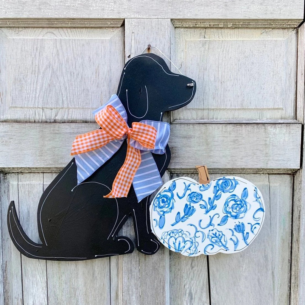 Labrador with Chinoiserie Pumpkin Fall Door Hanger