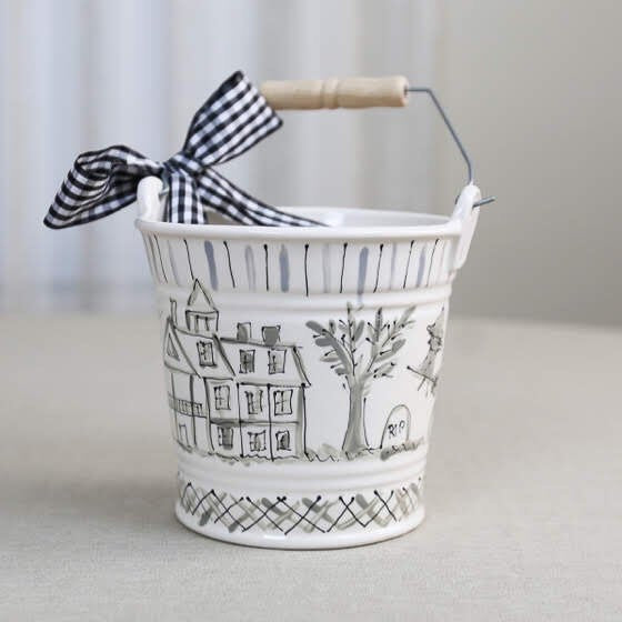 Chinoiserie Ceramic Halloween Bucket