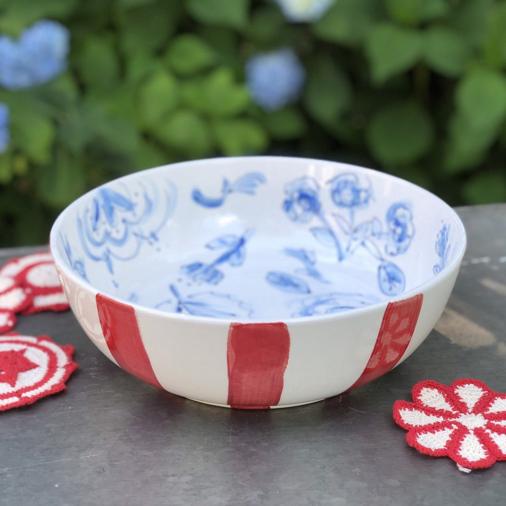 Red Blue and White Chinoiserie Floral Bowl