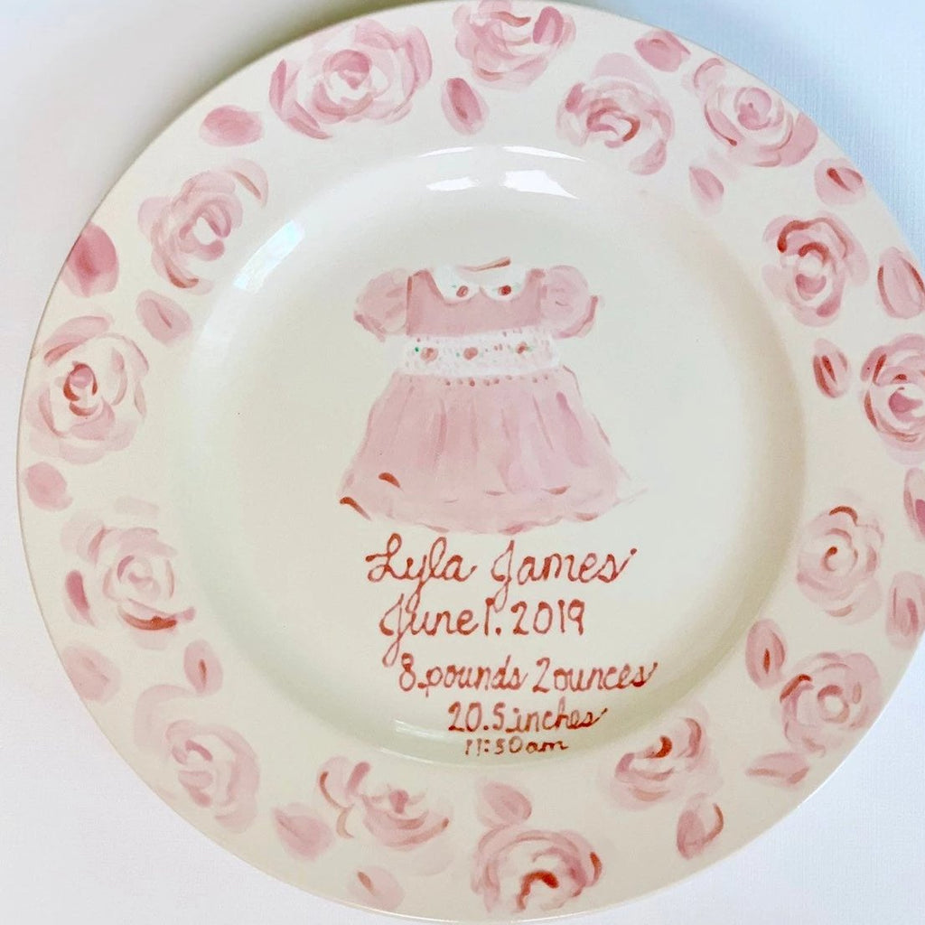 Personalized birth announcement plate - Baby Girl Pink Dress