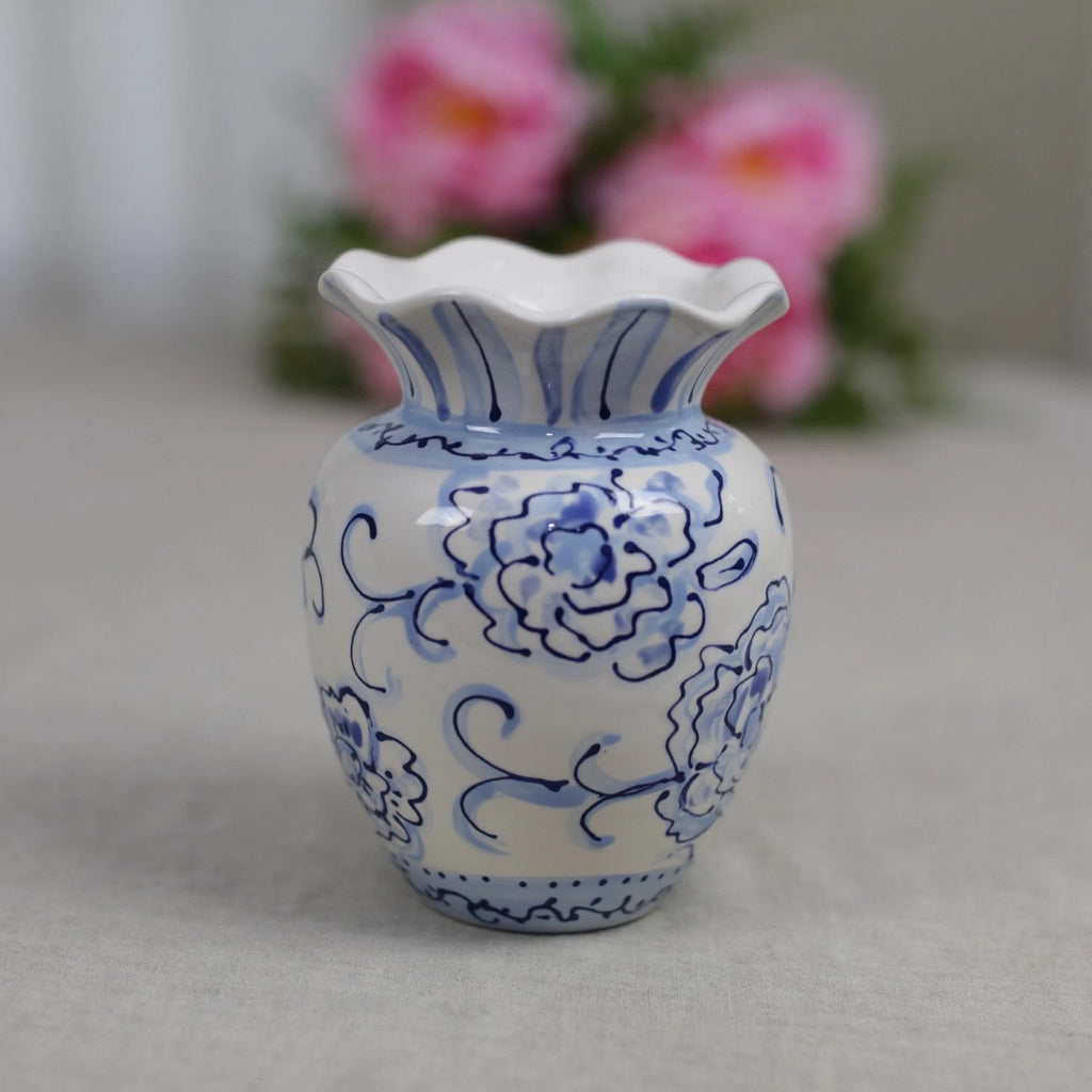 Blue and White Chinoiserie Ruffle Flower Vase