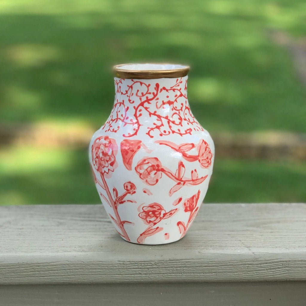 Coral Floral Pattern Chinoiserie Vase