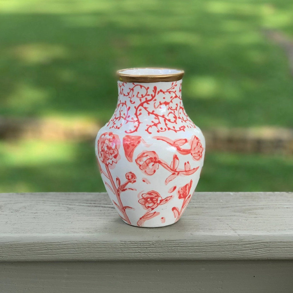 Coral Chinoiserie Vase