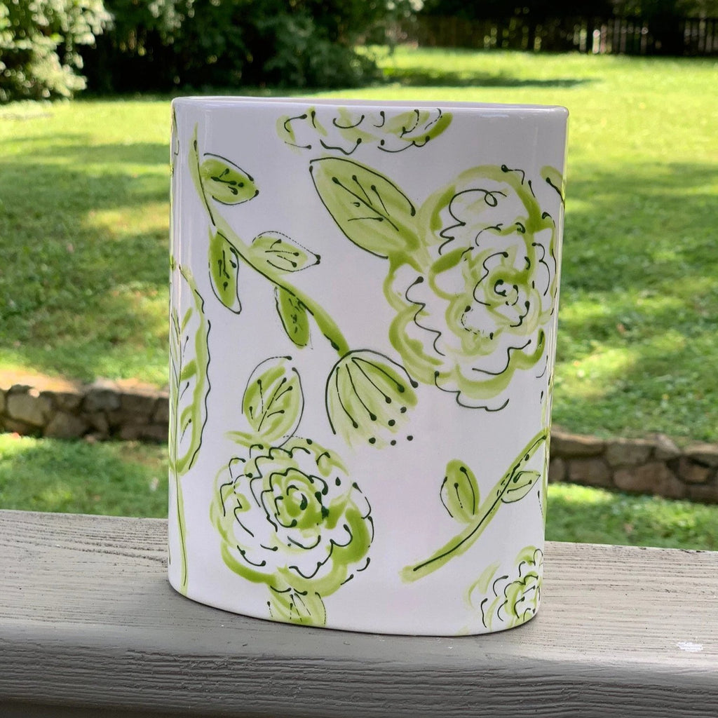 Green and White Oval Ceramic Flower Vase
