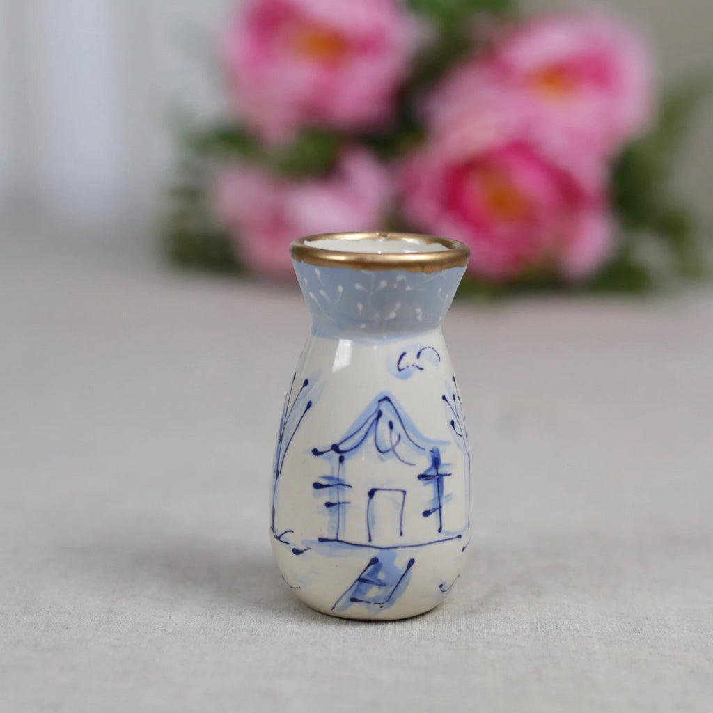 Blue and White Chinoiserie Pagoda Flower Vase