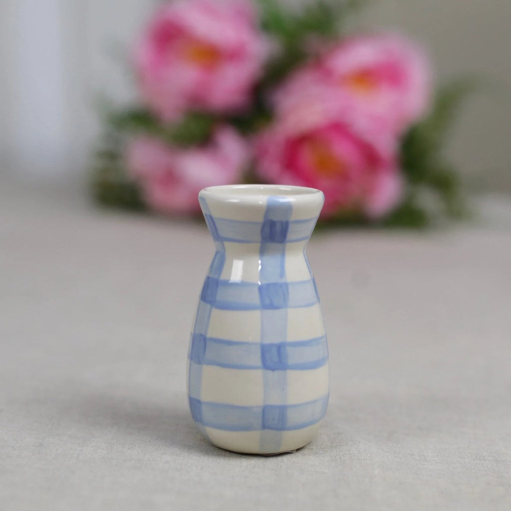 Delft Blue Gingham Ceramic Flower Vase