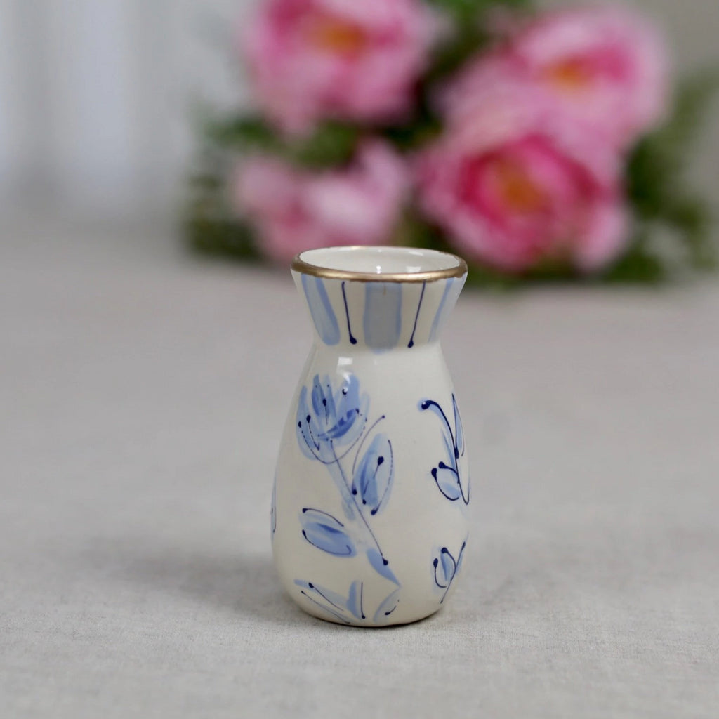 Blue and White Small Chinoiserie Ceramic Flower Vase