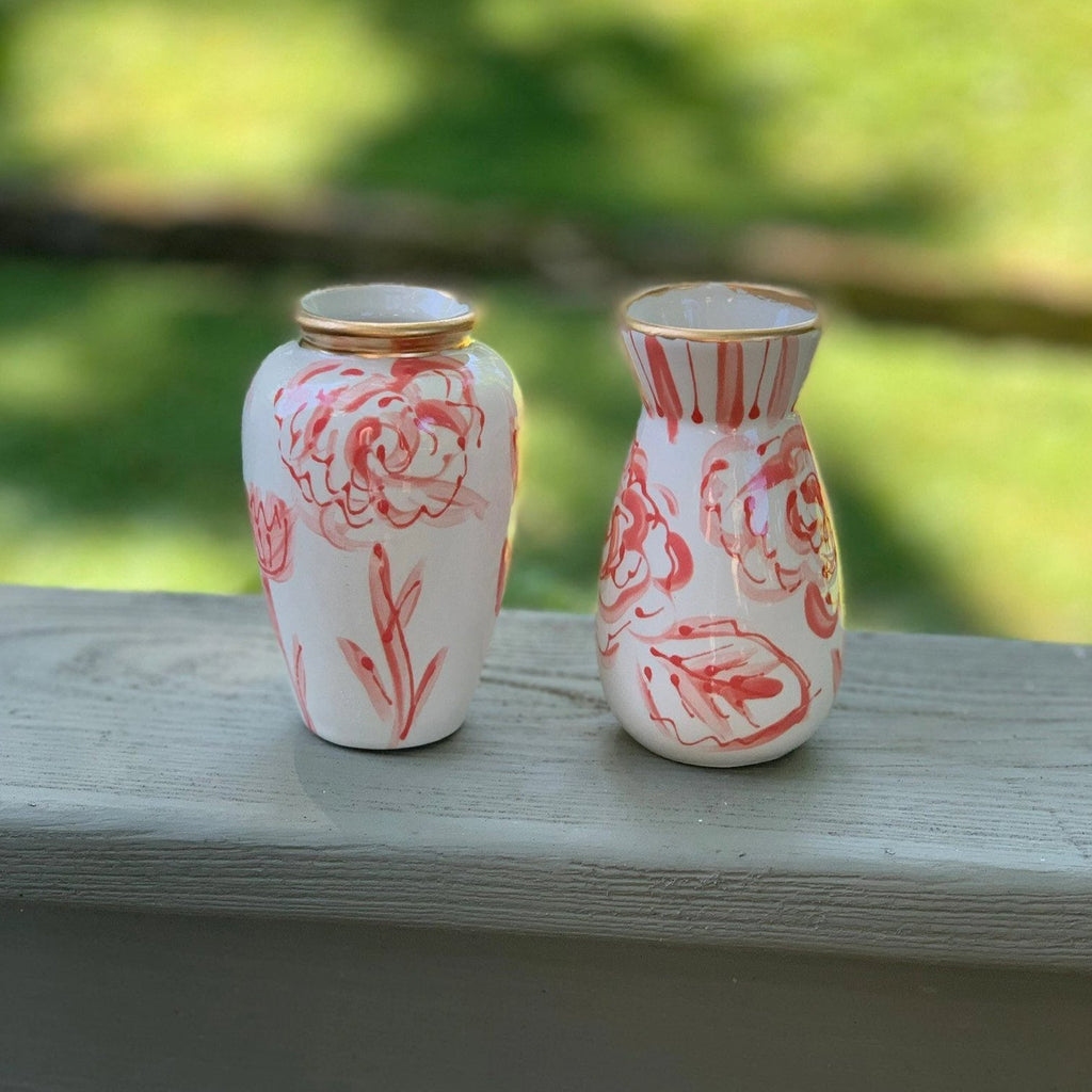 Coral Modern Floral Chinoiserie Ceramic Vase
