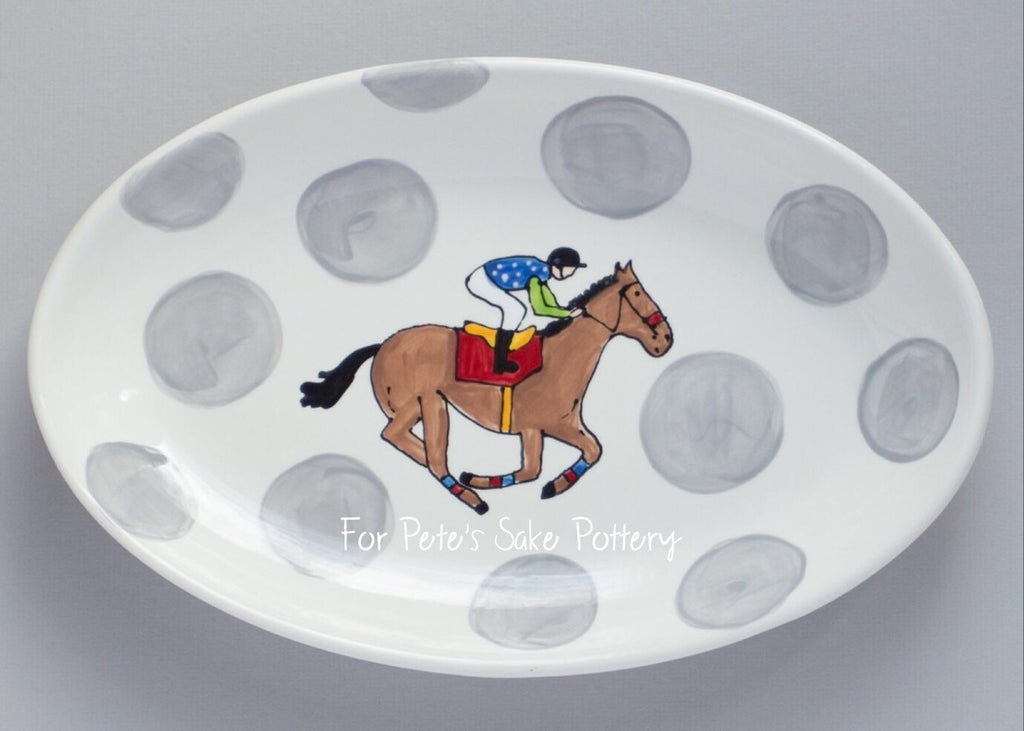 Horse Racing Oval Serving Platter