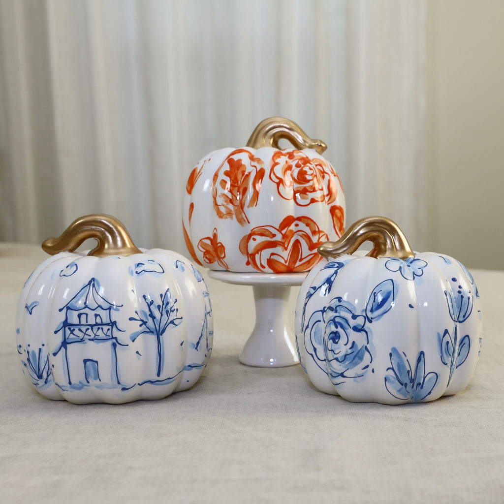 Hand Painted Chunky Ceramic Pumpkin