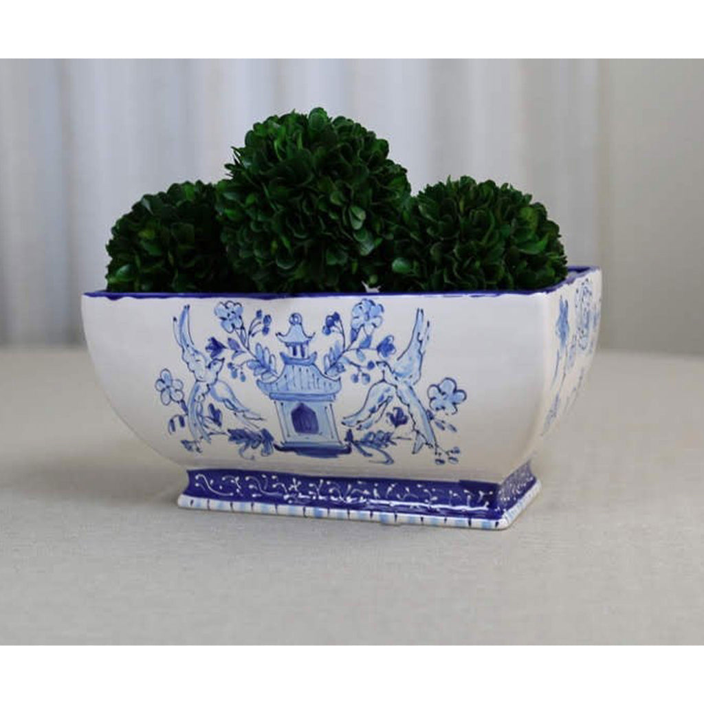 Hand Painted Modern Chinoiserie Rectangular Planter
