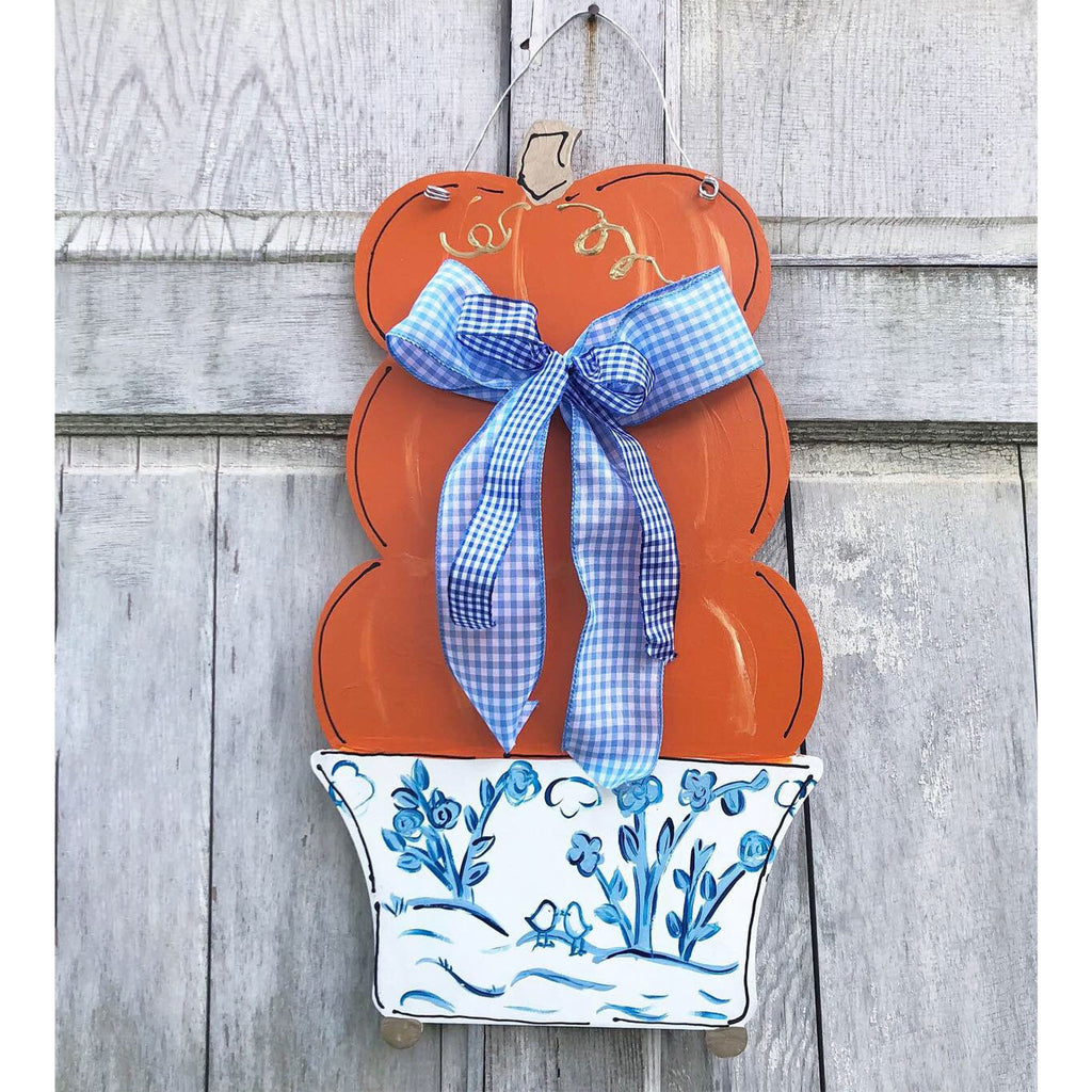 Stacked Pumpkin Chinoiserie Topiary Door Hanger