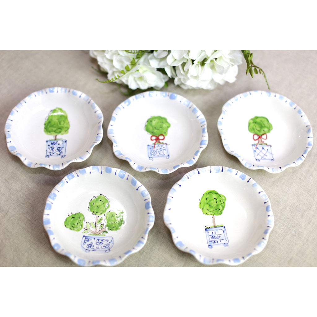 Blue and White Chinoiserie Topiary Ruffled Edge Bowl