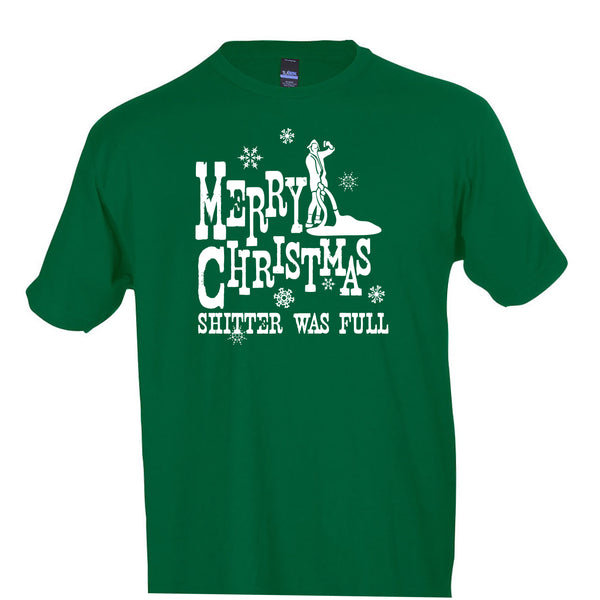 Merry Christmas Shitter Was Full T-Shirt National Lampoon's Christmas Vacation Crew Neck Tee