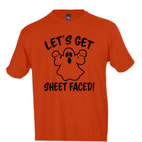 Let's Get Sheet Faced! Funny Ghost Crew Neck Tee