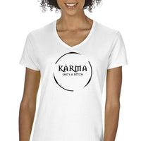 Karma She's A Bitch Women's Graphic V-Neck T-Shirt Funny