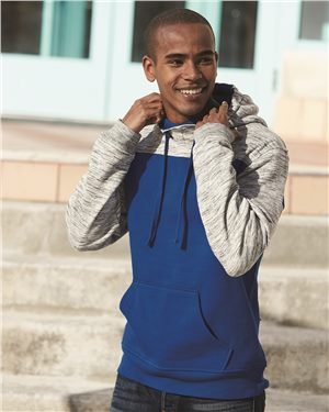 (ENMS XC) ADULT Melange Fleece Colorblocked Hooded Pullover (SS 8676)