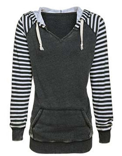(ENHS) Garment Washed Striped Fleece Pullover (LADIES) (OS 37579)