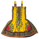 Yellow Toddler Kids African Dashiki Dress