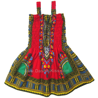 Red Toddler Kids African Dashiki Dress Cute Lovely