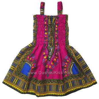 Pink Toddler Kids African Dashiki Dress Cute Lovely