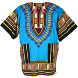 Light Blue African Dashiki Shirt Tops