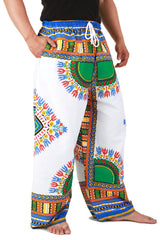 White and Blue African Dashiki Pants