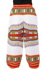 White and Red African Dashiki Pants