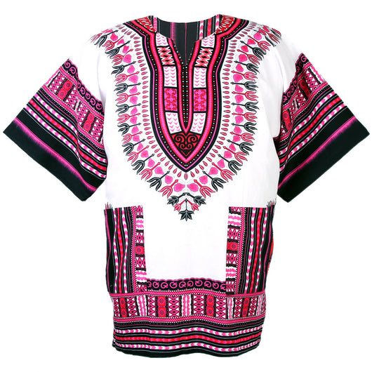 White and Pink African Dashiki Shirt