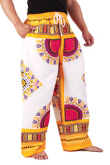 White and Yellow African Dashiki Pants