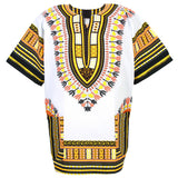 White and Yellow African Dashiki Shirt Tops Blouse