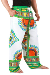 White and Green African Dashiki Pants