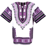 White and Purple African Dashiki Shirt Online Cheap Price
