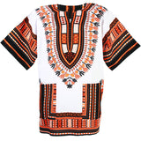 White and Orange African Dashiki Shirt Tops Blouse