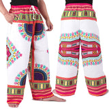 White and Pink African Dashiki Pants