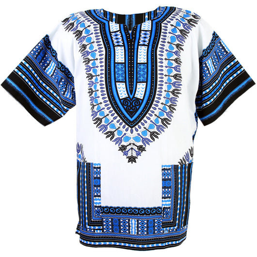 White and Blue African Dashiki Shirt