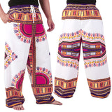 White and Purple African Dashiki Pants