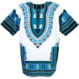 White and Light Blue African Dashiki T Shirt Cheap Price