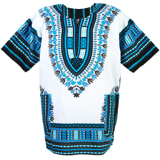 White and Light Blue African Dashiki Shirt