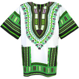 White and Green African Dashiki T Shirt Shop Sale Online
