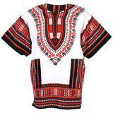 White and Red African Dashiki Shirt Tops Clothes