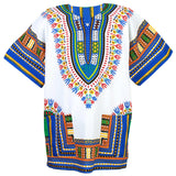 White and Blue Colorful African Dashiki Shirt Tops Store Online Shop