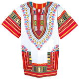 White and Red Colorful African Dashiki Shirt Shop Sale Online