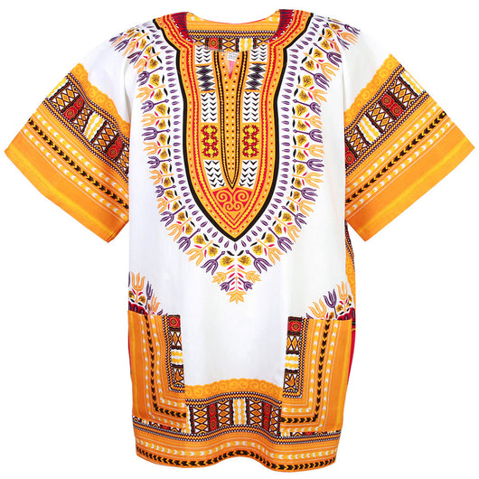 White and Yellow Colorful African Dashiki Shirt