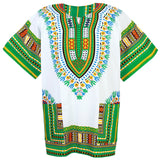 White and Green Colorful African Dashiki T Shirt Blouse Tops