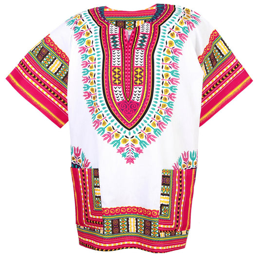White and Pink Colorful African Dashiki Shirt